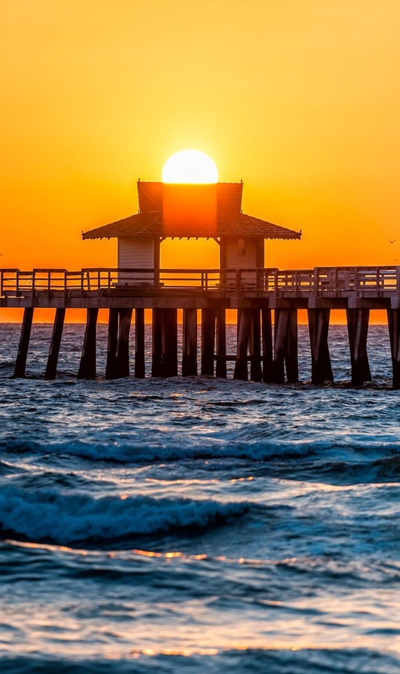 Naples, Florida yellow and orange red sunset closeup in gulf of Mexico with sun inside Pier wooden jetty, and many birds silhouette flying over horizon and blue ocean waves
