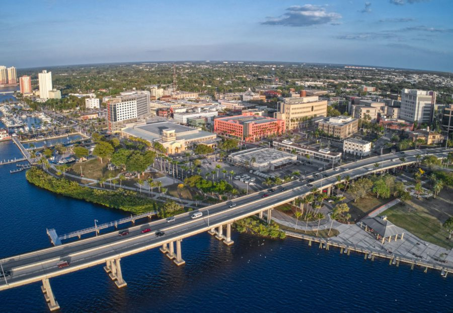 Aerial View of Downtown Fort Meyers, Florida